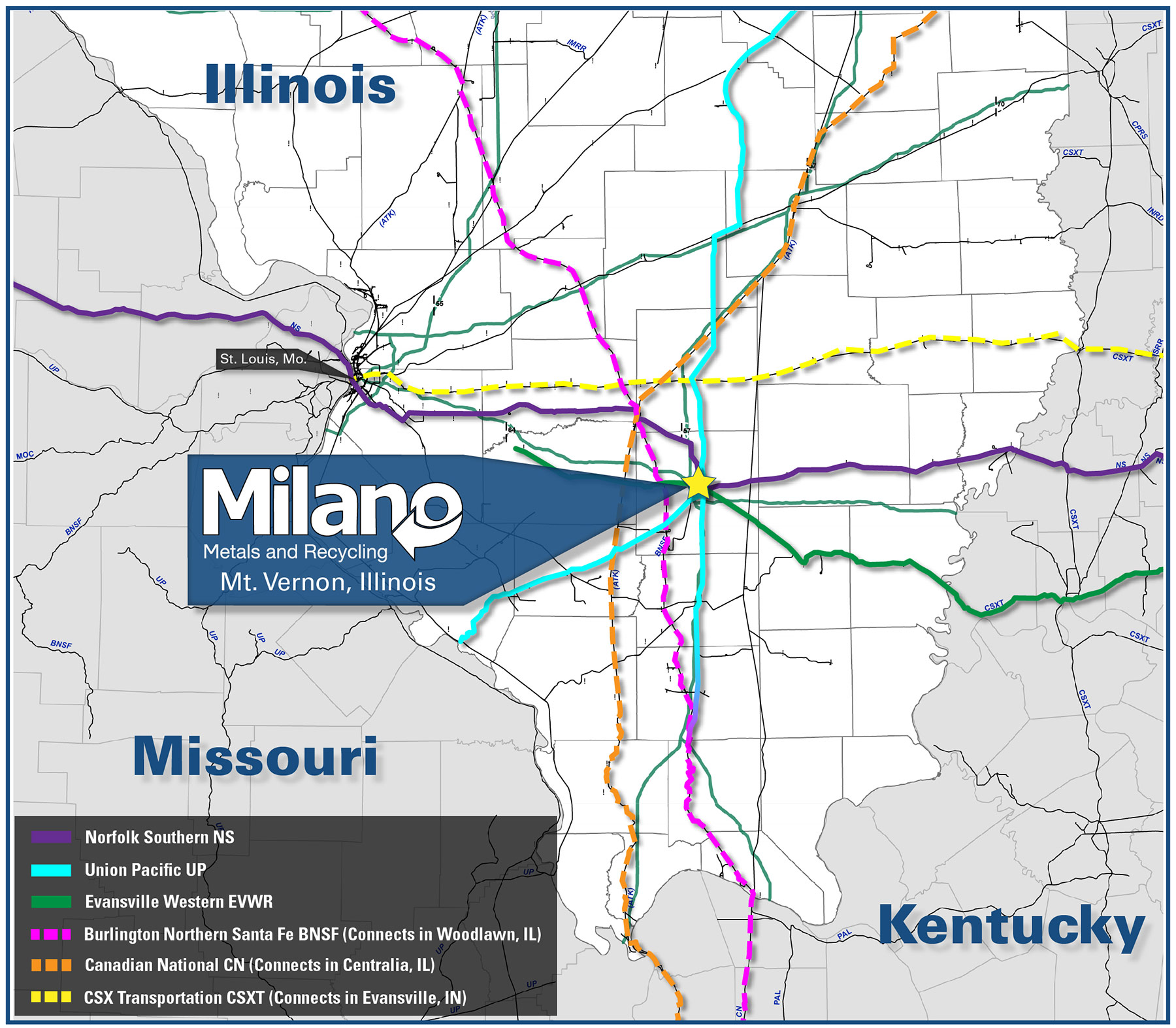 Evansville Illinois Map.On Site Rail Access Milano Metals And Recycling