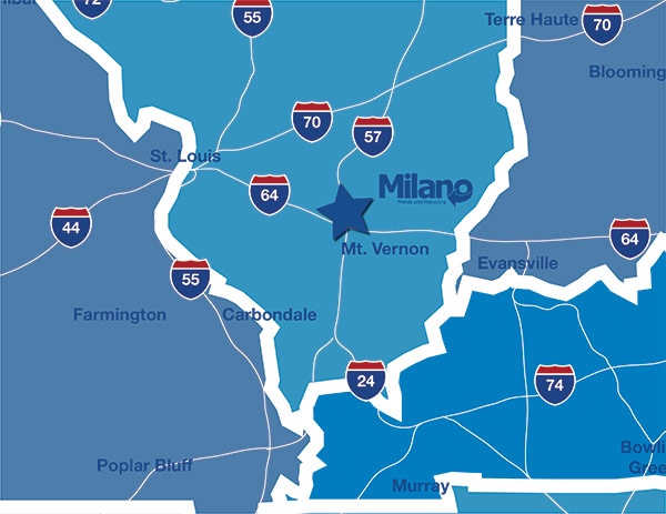 Map of Milano's On Site Service Area Map